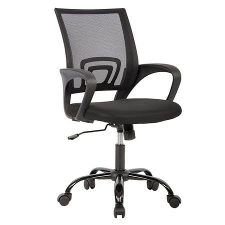 White Leatherette Office Chair (Mid Back Mesh Ergonomic Computer Desk Office Chair, Black )