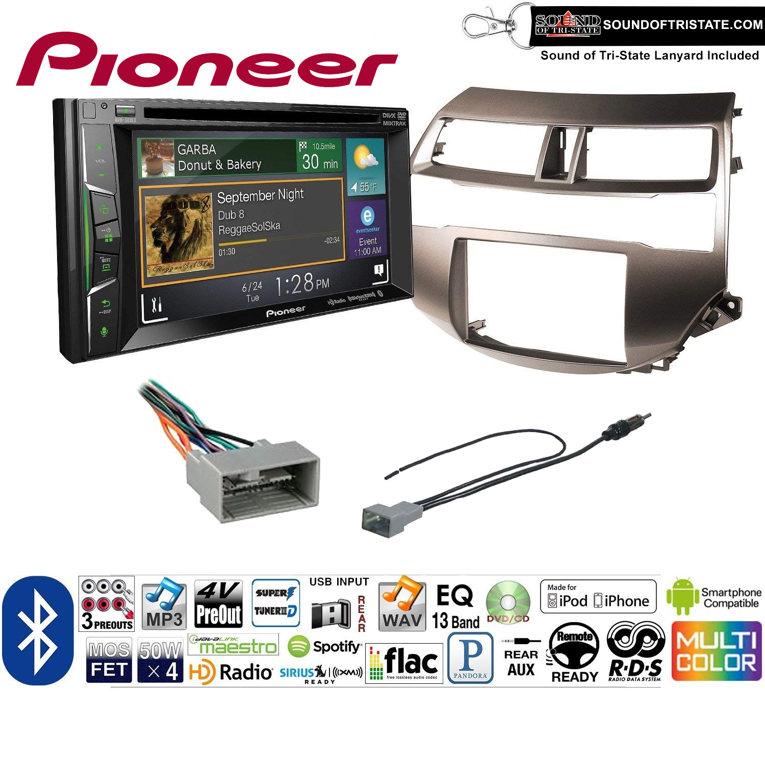 Pioneer AVH-501EX Double Din Radio Install Kit with DVD/CD Player Bluetooth Fits 2008-2012 Honda Accord (Gun Metallic Taupe) + Sound of Tri-State Lanyard