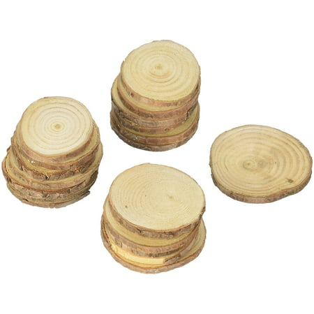 Mini Assorted Size Natural Color Tree Bark Wood Slices Round Log Discs for Arts & Crafts, Home Hanging Decorations, Event Ornaments (5-8cm, 20pcs) by Super Z Outlet
