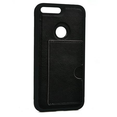 KroO Slim Credit Card Case for Google Pixel - Kroo Black Leather