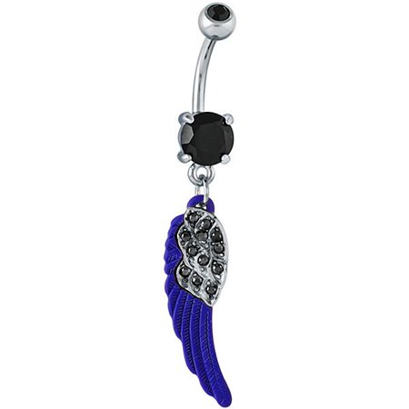 Black Cz Gothic Wing Dangle Belly Button Ring