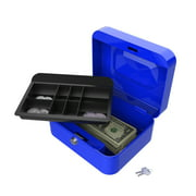 "Stalwart 8"" Key Lock Cash Box with Coin Tray, Blue"
