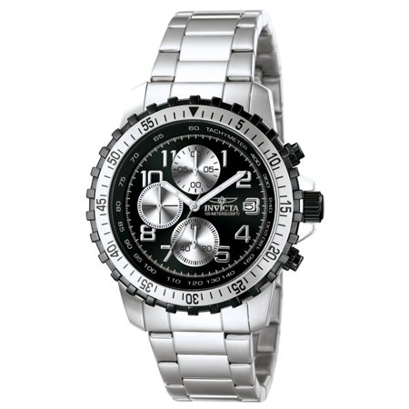 6000 Men's Specialty Pilot Black Dial Chronograph Stainless Steel Watch