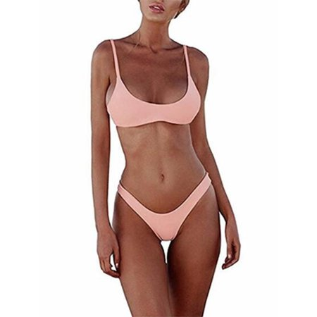 Womens Swimsuits Bikini Two Pieces Triangle Solid Swimwear Bathing Suit 2 Piece Triangle Bikini