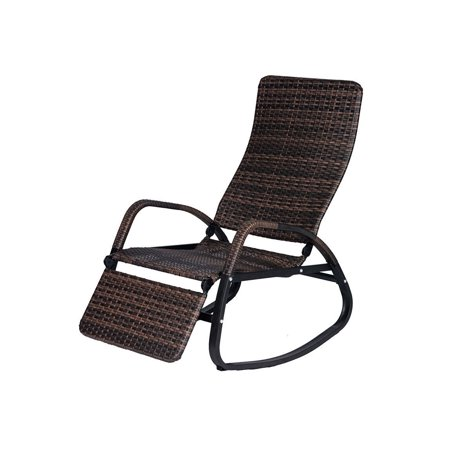 Patio Rattan Rocking Chair Indoor Outdoor Wicker Lounger Reclining Rocker Couch