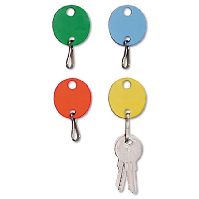 Oval Snap-Hook Key Tags, Plastic, 1.5 x 1.5, Assorted, by WorkstationPro