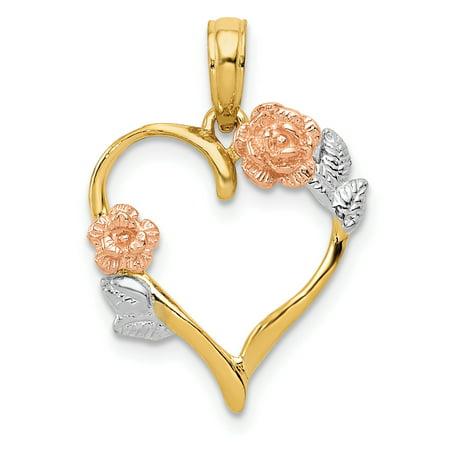 14k Y Rose White Flowers Leaves Pendant Charm Necklace Flower Gardening For Women