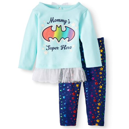 Hacci Tulle Trim Tunic & Leggings, 2-Piece Outfit Set (Baby Girls) (Batgirl Outfits)