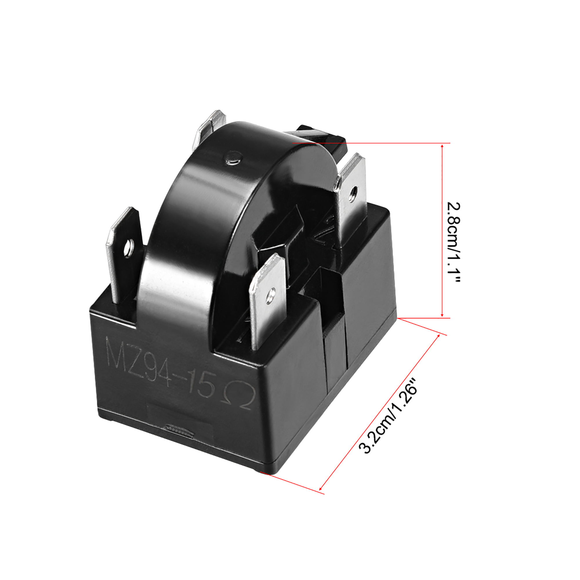 15 Ohm 4 Pin Refrigerator PTC Starter Relay Black - image 3 of 4