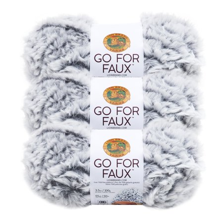Polyester Face Yarn (Lion Brand Yarn GO FOR FAUX Chinchilla 3 Pack Novelty )