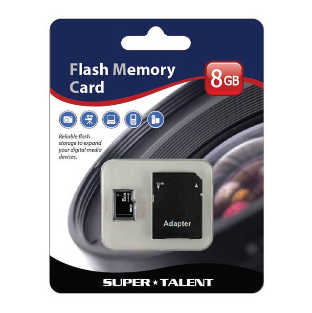 Super Talent 8GB Micro SDHC Memory Card w/ Adapter MSD8GBST6R(SZ)