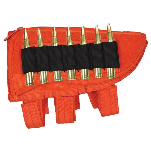 Ultimate Arms Gear Tactical Safety Orange Righty Hand Shooters Rifle Ammo Round Hunting Stock ButtStock Carrier Holder .223 5.56 Winchester 700 Rifle