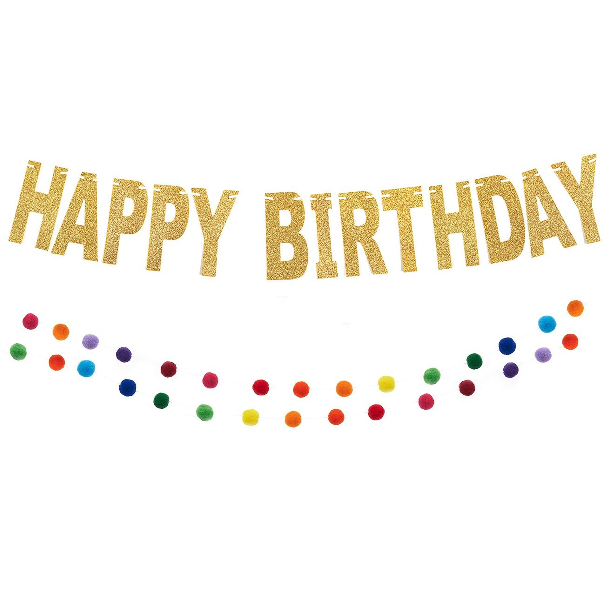 Happy Birthday Banner Set Includes 1x Gold Glittery Banner And 1x Rainbow Pom Pom Garland Wall Backdrop For Kids Party Supplies And Decoration Walmart Com Walmart Com