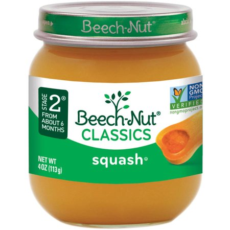 Beech-Nut Classics Stage 2 Squash Baby Food, 4 oz, (Pack of 10) - Baby Food Jars Halloween Craft