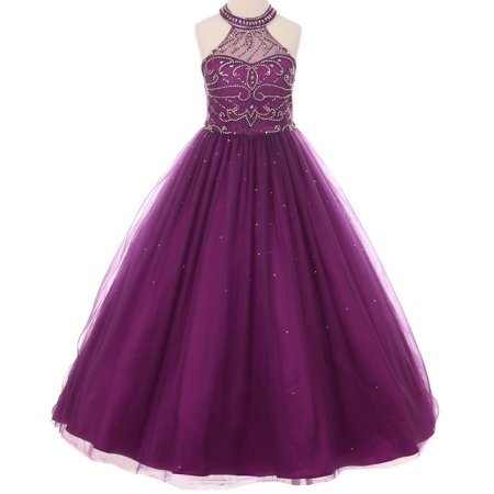 Little Girls Dazzling Halter Rhinestones Junior Bridesmaid Pageant Flower Girl Dress Plum 4 (C50C51C) - Sugar Plum Fairy Dress