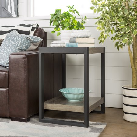 Walker Edison Industrial Wood and Metal End Table - Driftwood