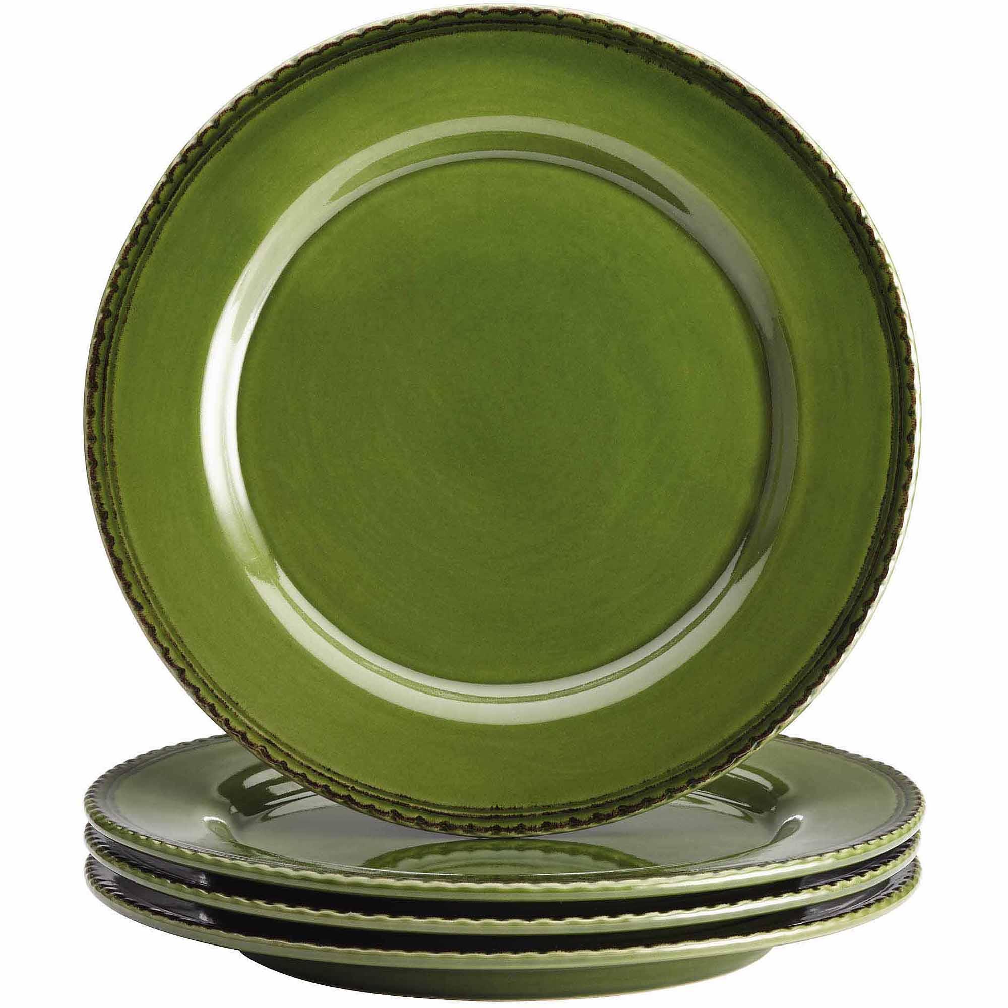BonJour Dinnerware Sierra Pine 4-Piece Stoneware Dinner Plate Set, Forest