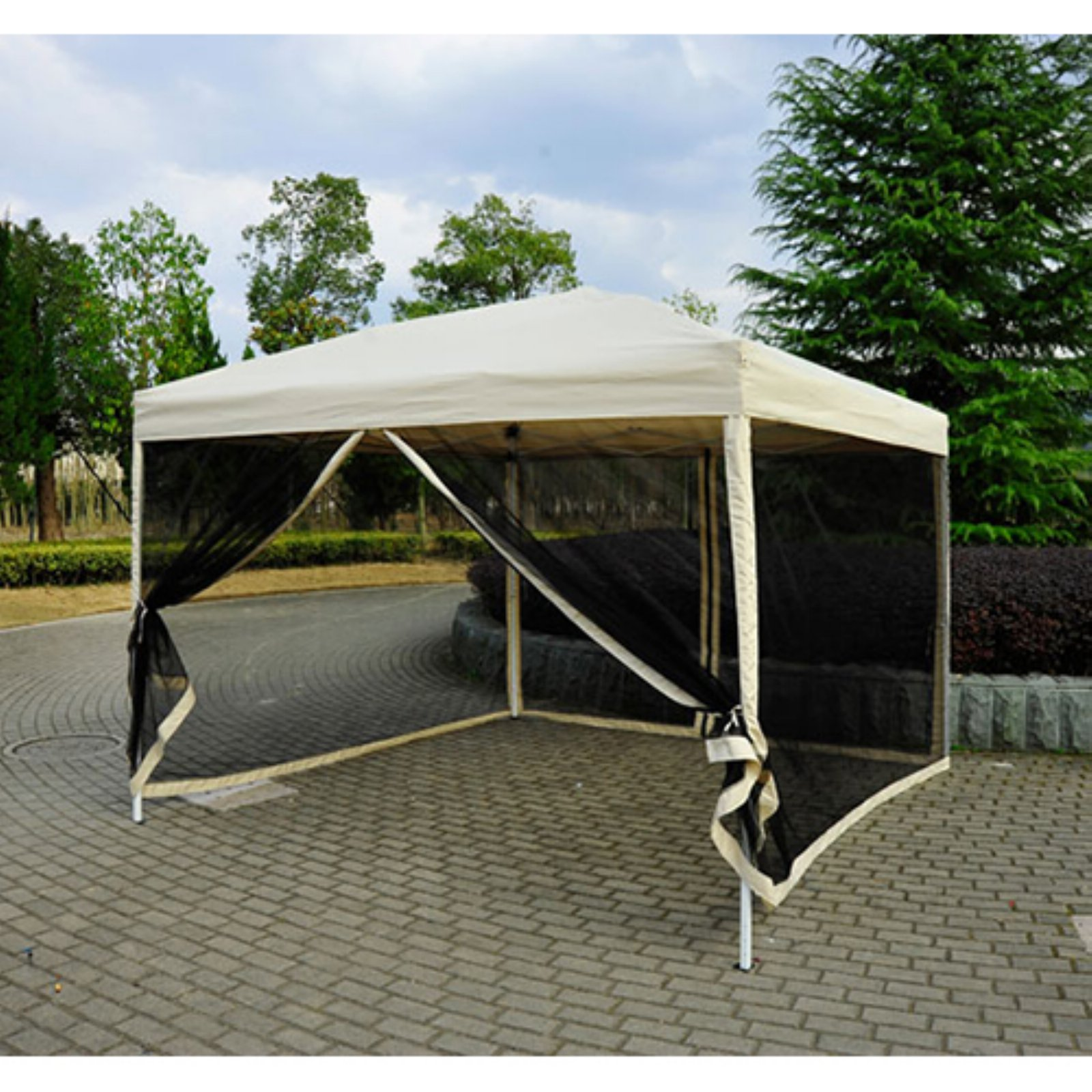 Outsunny 10 x 10 ft. Easy Pop Up Canopy with Mesh Side Walls