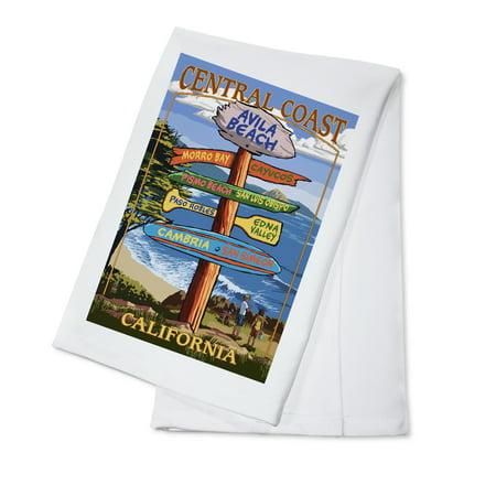Avila Beach, California - Destination Signpost - Lantern Press Artwork (100% Cotton Kitchen Towel)