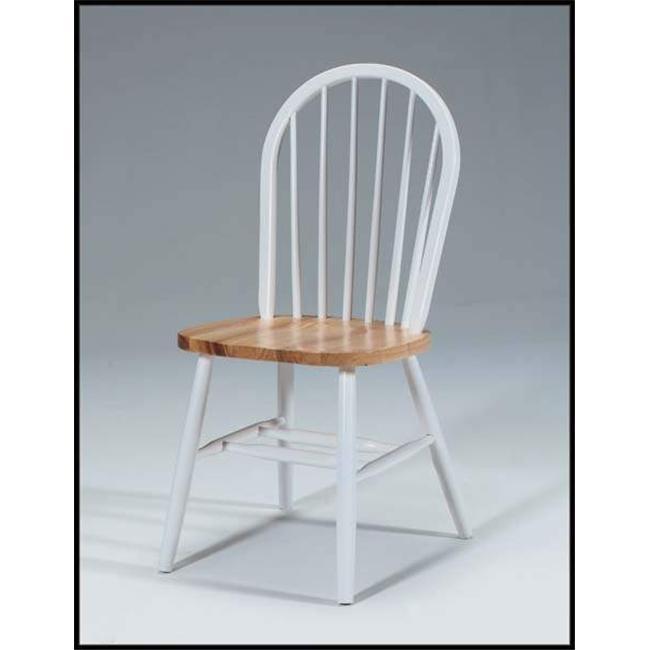 International Concepts C02-212 WHT/NAT 36 Inch High Spindleback Chair - PLAIN LEGS
