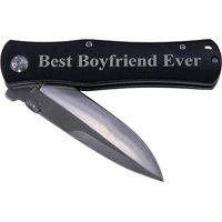 Best Boyfriend Ever Folding Pocket Knife - Great Gift for Birthday,valentines Day, Anniversary or Christmas Gift for Boyfriend, Bf (Black Handle)