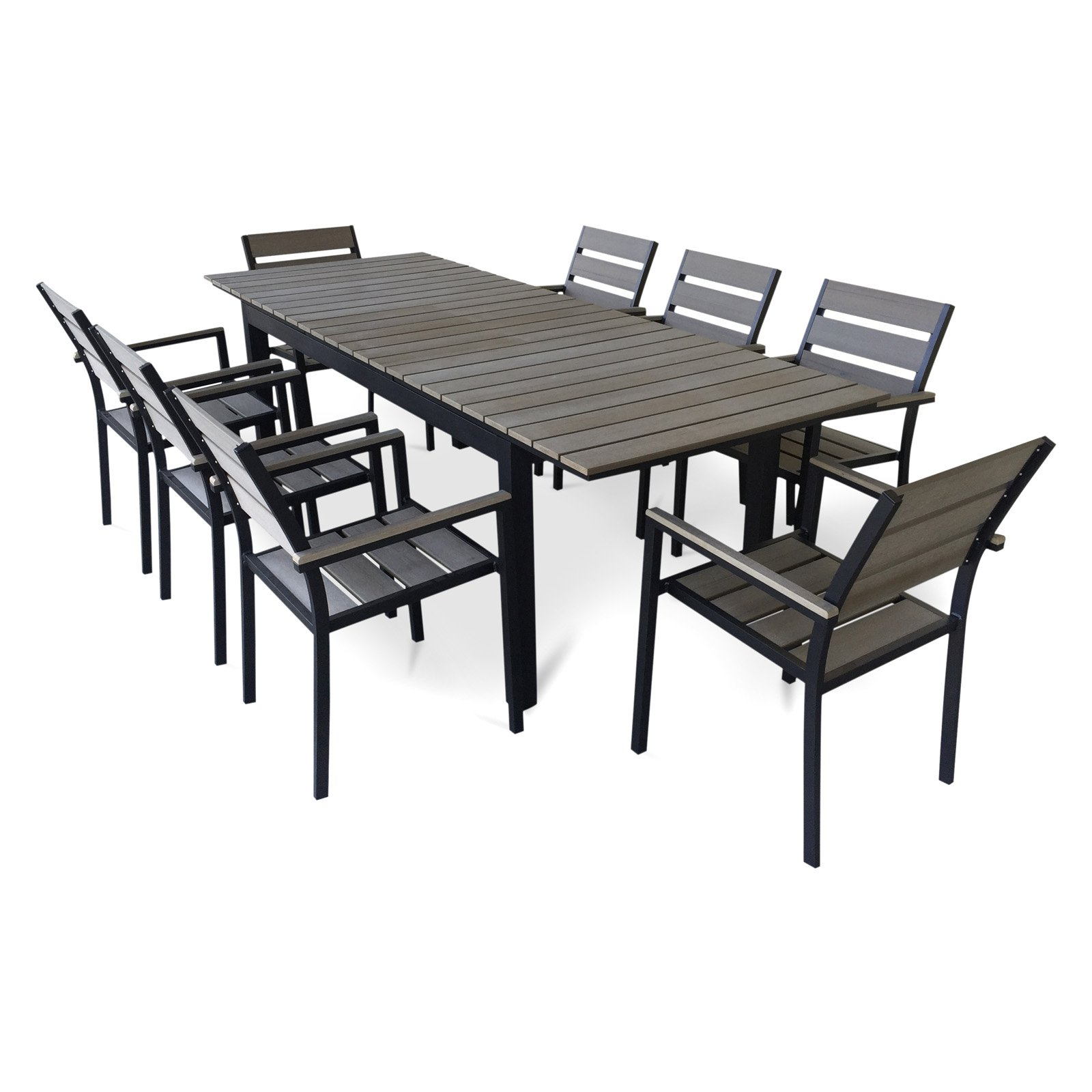 Urban Furnishing 9 Piece Eco-Wood Extendable Outdoor Patio Dining Set