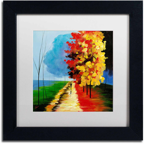 "Trademark Fine Art ""Walk in the Park"" Canvas Art by Ricardo Tapia, White Matte, Black Frame"