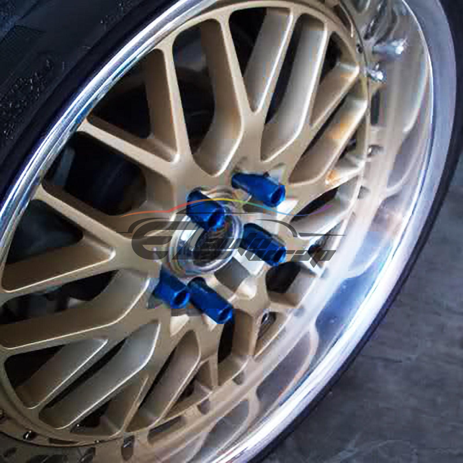 EzAuto Wrap Neo Chrome 20 PCS M12x1.25 Lug Nuts Spiked 60mm Extended Tuner Aluminum Wheels Rims Cap WN03