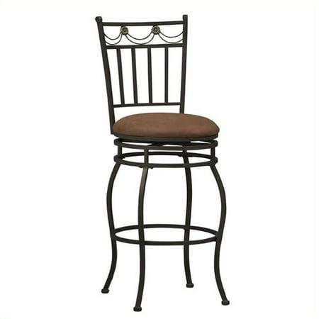 Linon Swag Counter Stool, Brown, 24 inch Seat (Baltic Brown Granite Counter)