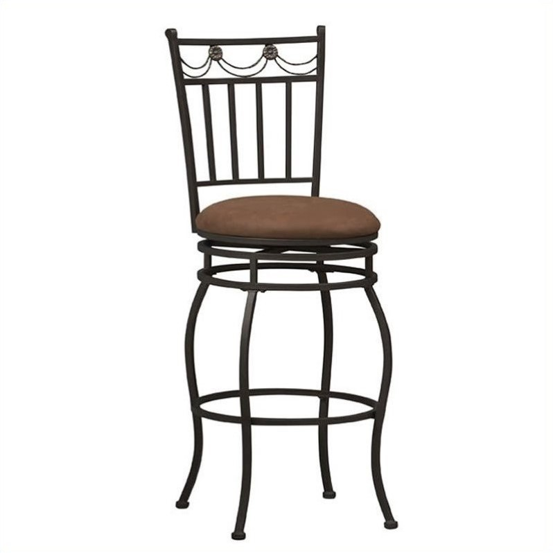 Linon Swag Counter Stool, Brown, 24 inch Seat Height