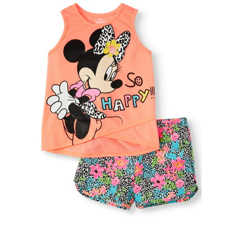 Minnie Mouse Layered Tank Top and Printed Shorts, 2pc Outfit Set (Toddler Girls) - Minnie Mouse Outfits For Adults