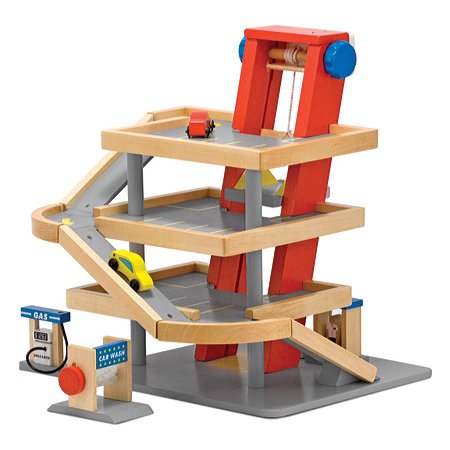 - Melissa & Doug Deluxe Wooden Parking Garage Play Set