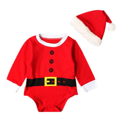 New Arrivals Baby (New Arrival Baby Christmas Rompers Santa Claus Cosplay jumpsuit Hats Newborn Baby Girl Boy Christmas Dinner Clothes)
