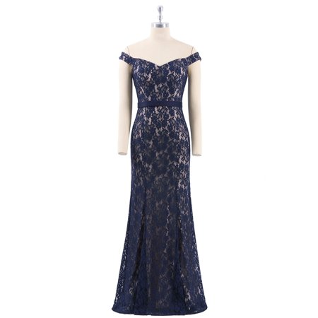 Ever-Pretty Women's Lace Fishtail Long Formal Wedding Mother of the Bride Dresses Navy Blue for Women 07278 US 4 - Navy Blue Long Dress