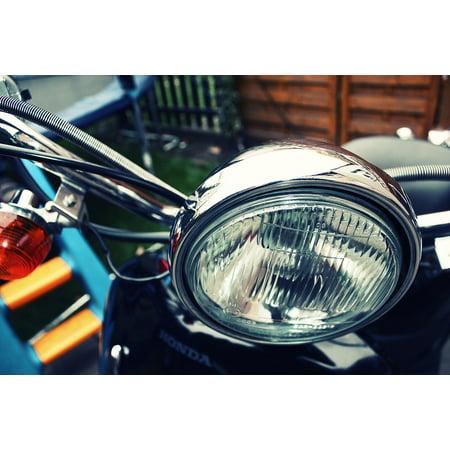 Framed Art for Your Wall Spotlight Motorcycle Roller Chrome Oldtimer 10x13 (Chrome Single Spotlight)