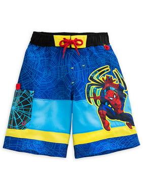 "Disney Store Marvel Spider-Man ""Climb Wave"" Blue Swim Trunks for Boys"