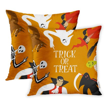 ECCOT Orange Autumn Funny Halloween Cartoon Characters Trick Treat Title Black Pillowcase Pillow Cover 16x16 inch Set of - Halloween Main Titles