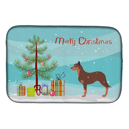 australian kelpie dog merry christmas tree dish drying mat