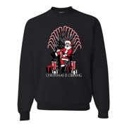 Christmas is Coming Funny Santa Iron Throne Candy Cane Mens Ugly Christmas Sweater