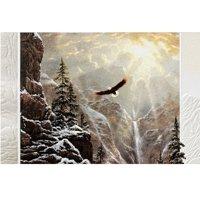 """Set of 16 Majestic Soaring Eagle Above Icy Waterfall Christmas Greeting Card 5.38"""" x 8.25"""""""