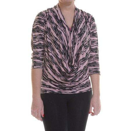 Eci Women's Dolman Sleeve Surplice Blouse Size XS Peach Skin/Charcoal