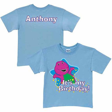 Personalized Barney Its My Birthday Toddler Boy Light Blue T Shirt