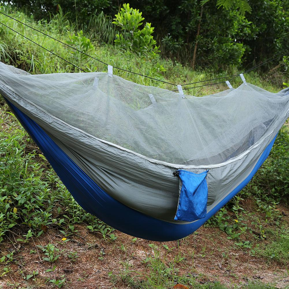 Double Person Camping Tent Hammock With Mosquito Net for Outdoor Garden Jungle(Military green)