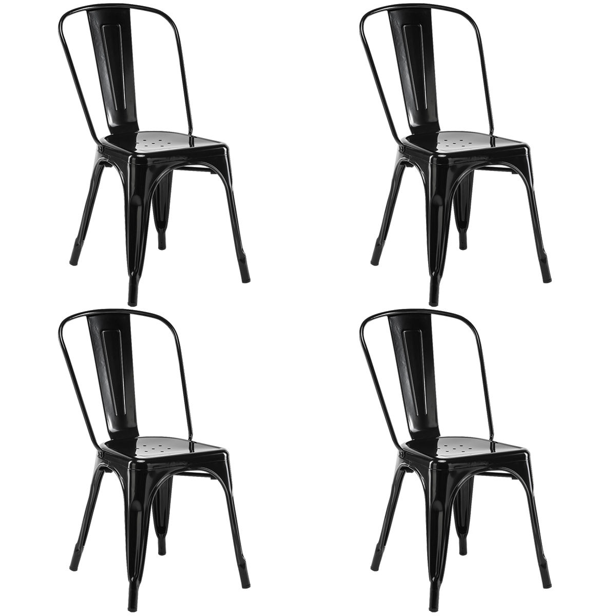 costway set of 4 tolix style dining side chair stackable bistro cafe metal stool vintage - Dinette Chairs
