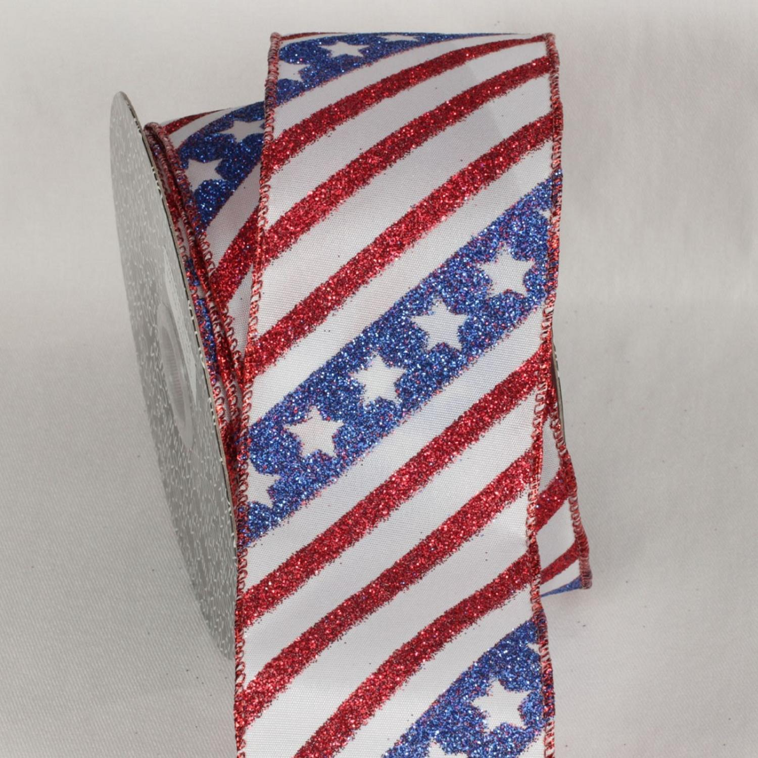 "American Red, White and Blue Stripes and Stars Wired Craft Ribbon 2.5"" x 20 yards"