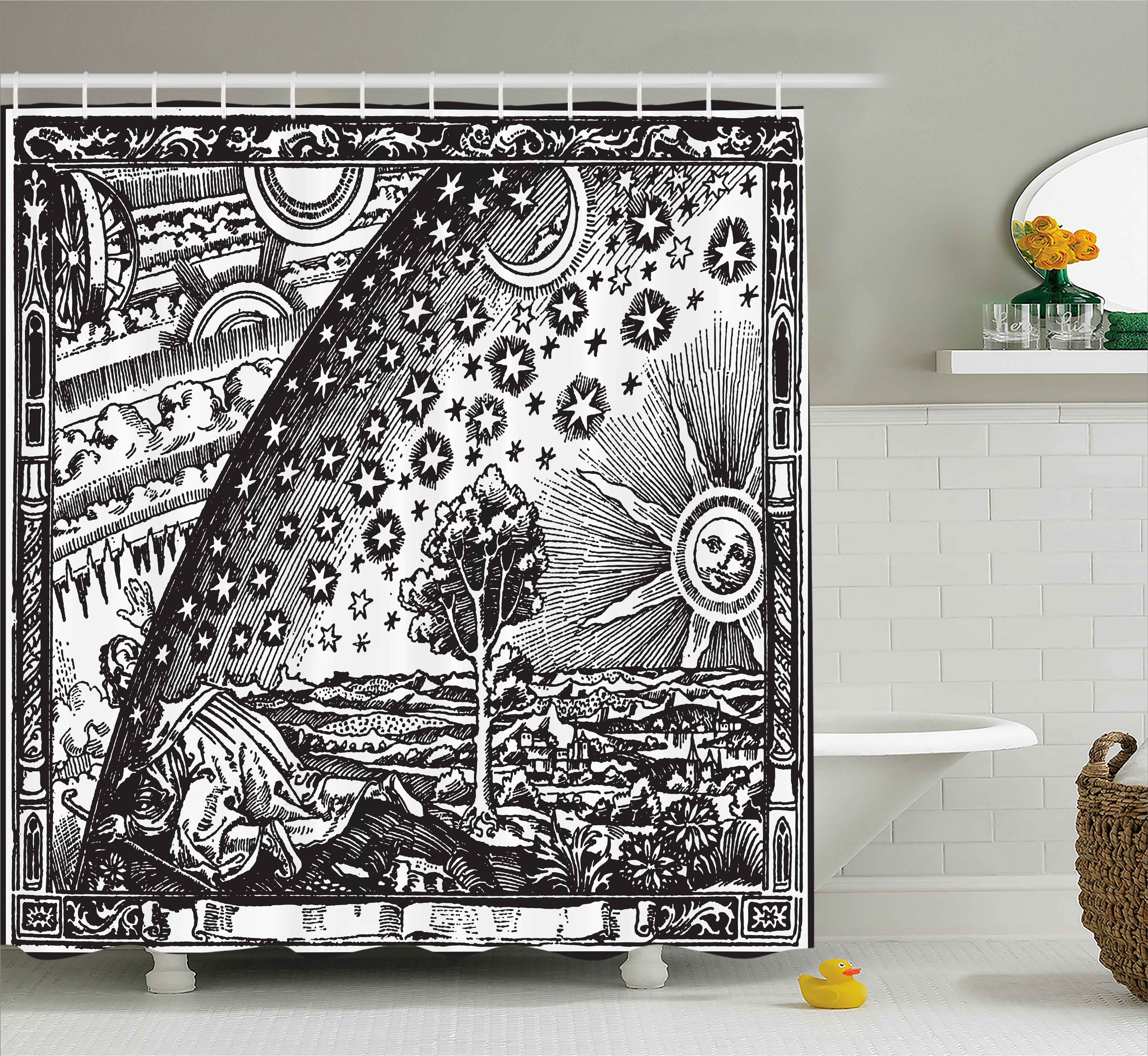 vintage shower curtain. Vintage Shower Curtain, Medieval Sacred Picture With Moon And Sun End Of The World Themed Curtain