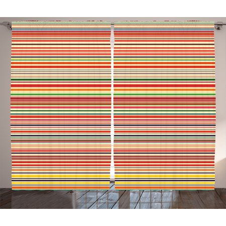 Abstract Curtains 2 Panels Set, Vivid Horizontal Colorful Striped Lines Background Rainbow Bars Artistic Display, Window Drapes for Living Room Bedroom, 108W X 108L Inches, Multicolor, by Ambesonne