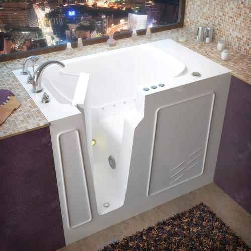 """Avano AV2952LA Walk-In Tubs 52"""" Gel Coated Air Bathtub for Alcove Installations with Left Drain, Roman Tub Faucet and Handshower"""