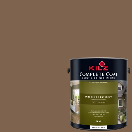 KILZ COMPLETE COAT Interior/Exterior Paint & Primer in One #LD110-02 Leather - Dark Brown Leather Finish