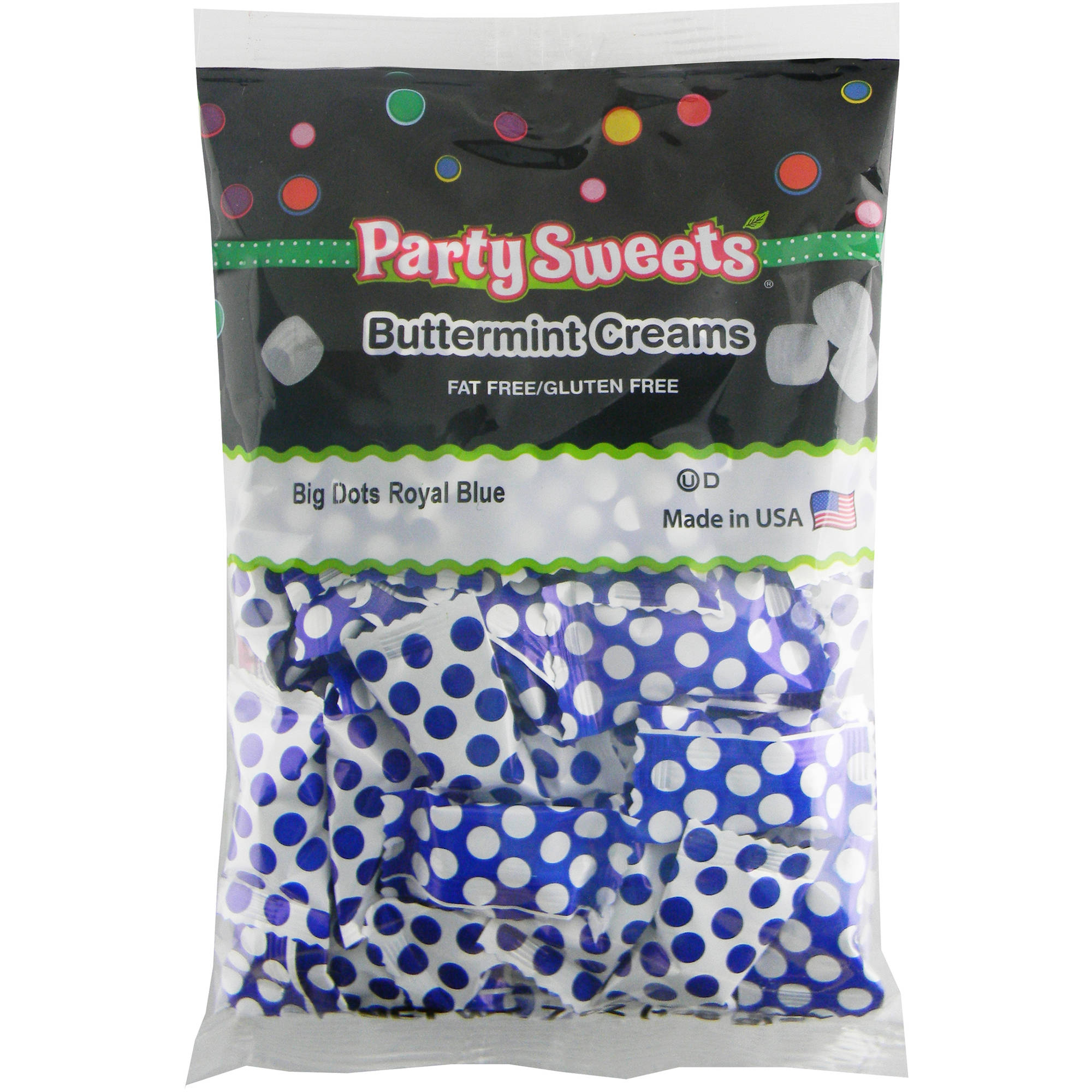 Party Sweets Big Dots Royal Blue Buttermint Creams Candy, 7 oz